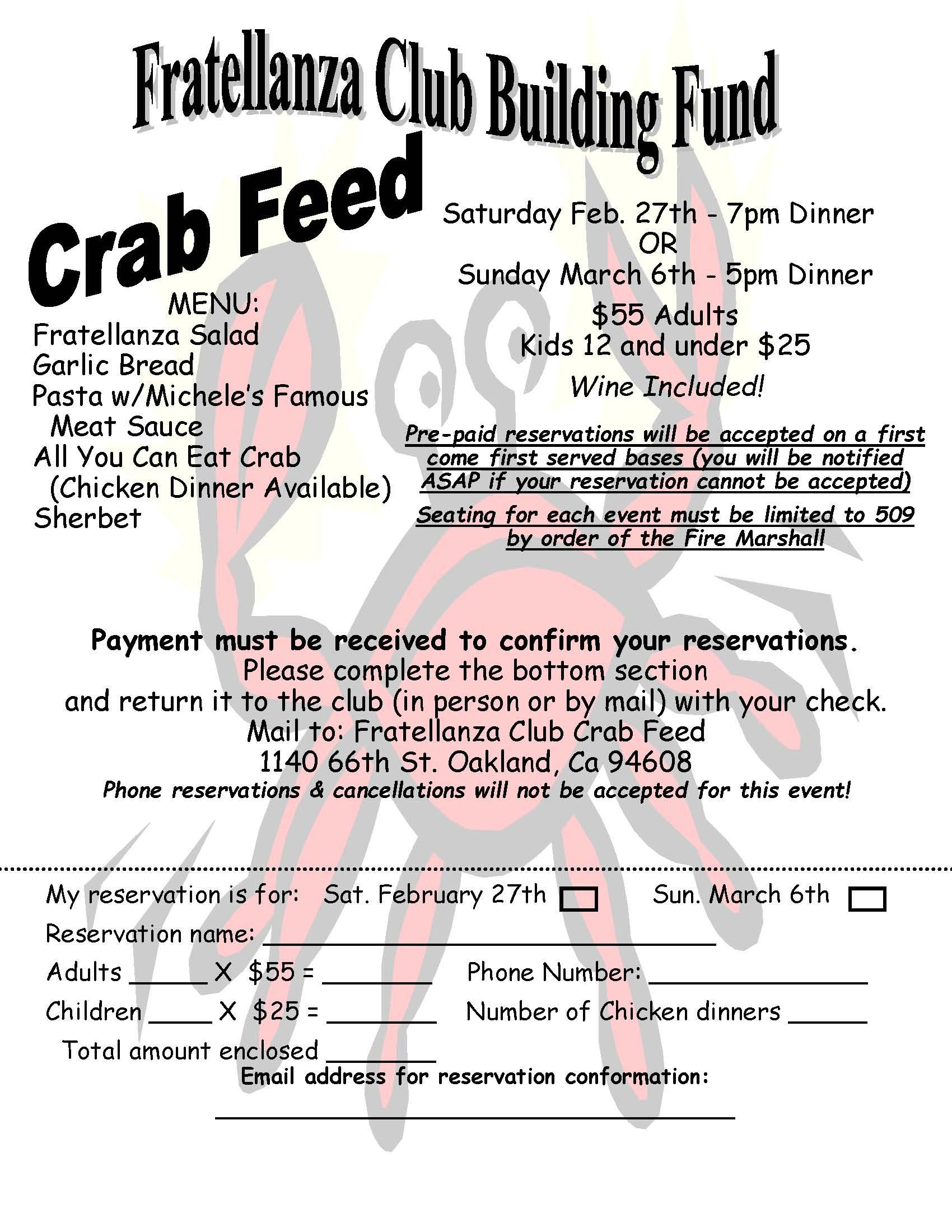2016 Crab Feed Flier