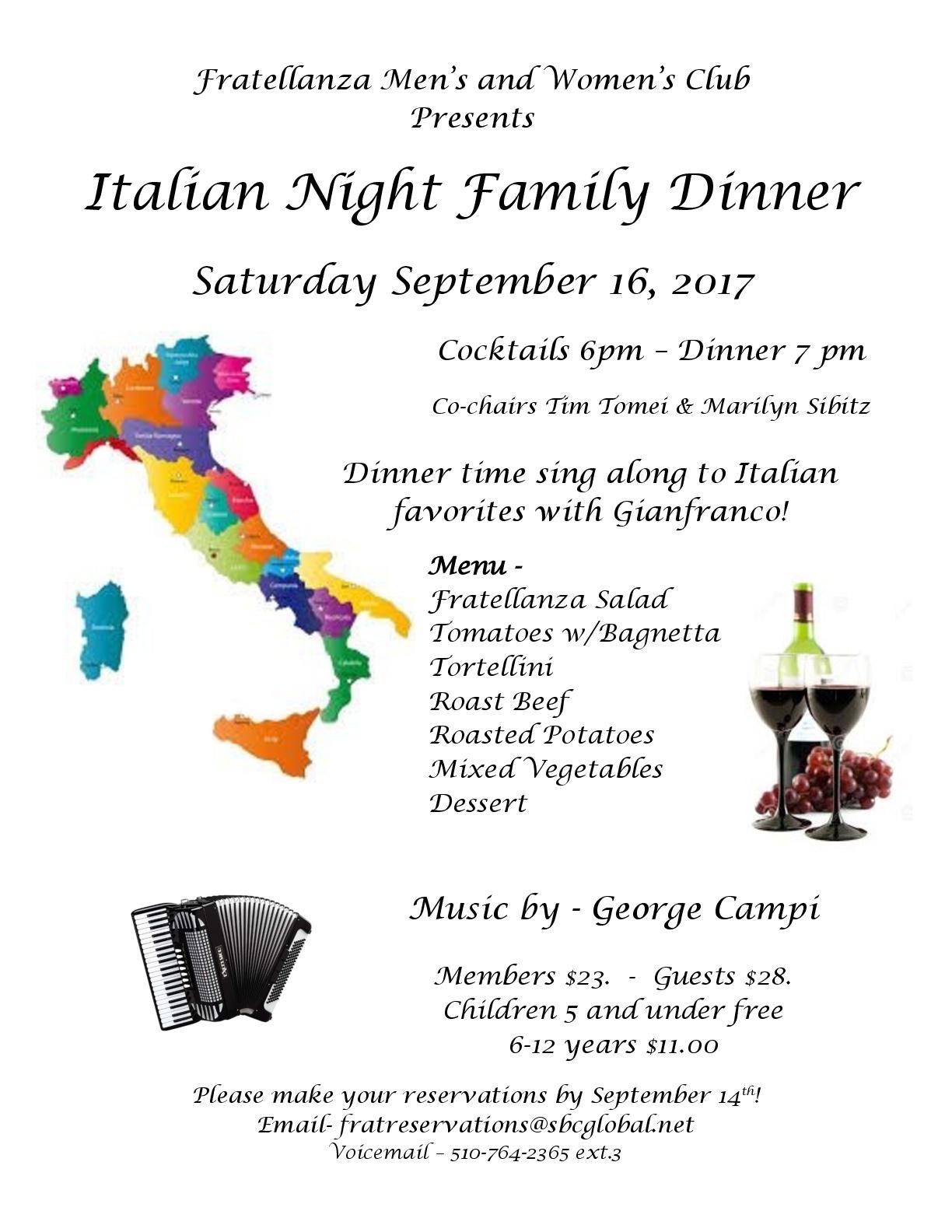 Italian Night Family Dinner – SEPT 16 – Fratellanza Club