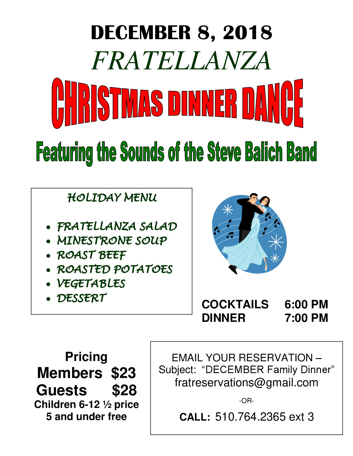 Christmas Dinner Dance – DEC 8 – Fratellanza Club